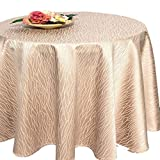 Tischdecke PALERMO beige / 160 cm rund / Aqua Muster in leichter Baumwollmischung