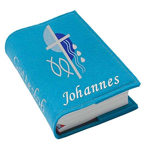 Gotteslob Gotteslobhülle Kreuz 2 blau Filz mit Namen bestickt hellgrau grau dunkelgrau lila blaugrau flieder maigrün dunkelblau trükis (türkis)