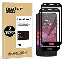 iVoler [Pack de 2] Verre Trempé pour Motorola Moto Z2 Play, [Couverture Complète] Film Protection en Verre trempé écran Protecteur Vitre (Noir)