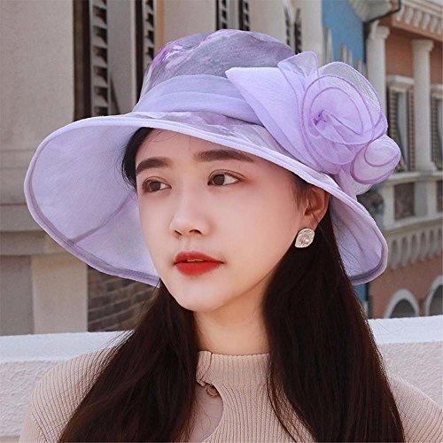 YXLMZ Meine Damen Frauen Hüte Farbe Lackieren, Bedrucken und Färben von Garnen gewebt Mützen Outdoor Cap Visor Sonnenhut Sonnencreme Mutter hat Lila