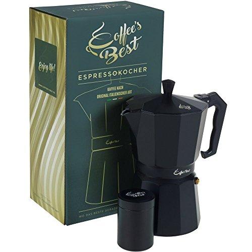 Coffee's Best Premium Espressokocher für perfekten Mokka & Espresso! ? Tassen Espressokanne aus Aluminium im Set mit kleiner Kaffeedose. Mokka-Maschine mit guter Dichtung und geradem Boden. Robuster Espressomaker! Espresso Maker-3 Cup
