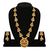 #2: Matushri Art Indian Traditional Temple Jewelry of Laxmi God Necklace Set for Women and Girls