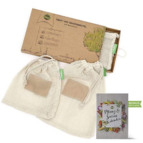 Kleine Baumwolle-feld (TreeBox Wiederverwendbare Obst- und Gemüsebeutel aus Baumwolle - 3er Set - Mit Gewichtsangabe und Feld für Etiketten - Umweltfreundliche Einkaufsnetze)