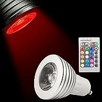 Lampadina a LED RGB con 16 colori interscambiabili, GU10, 5 W, telecomando con 24 tasti, ideale per arredare casa, modello LD236