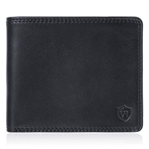 VON HEESEN Wallet ohne Münzfach Geldbeutel Männer mit RFID-Schutz Geldbörse Herren Leder Schwarz Portemonnaie Portmonaise Brieftasche Herrengeldbeutel Herrenbörse Portmonee Geschenk - Made in Europe