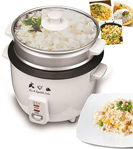 Reiskocher Kochtopf Reis Dampfgarer Schnellkochtopf Multikocher Edelstahl Dämpfer aus Aluminium mit Glasdeckel (1,8 Liter / 700 Watt)