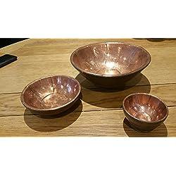 Precioso conjunto de tres mango madera para aperitivos o servir vajilla cuencos con una lámina de cobre acabado interior