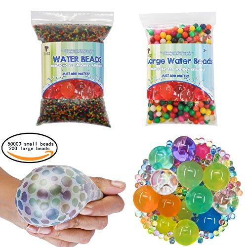 TOAOB 50000pcs Mini und 200pcs XXL Aqualinos Perlen Wasserperlen Gelperlen Wachsende Kristallboden für Sensorische Spielzeug und als Deko für Blumenvase