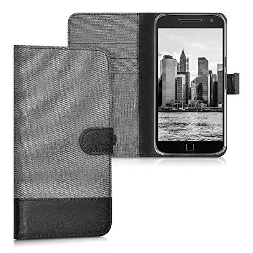 kwmobile Motorola Moto G4 / Moto G4 Plus Hülle - Kunstleder Wallet Case für Motorola Moto G4 / Moto G4 Plus mit Kartenfächern und Stand - Grau Schwarz