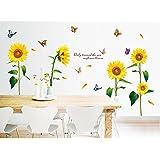 Hanmero Vinilo Pegatina Decorativa Infantil Adhesiva Para Pared Dibujos de girasoles, con diseño de mariposa,60cm*90cm
