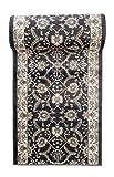 Läufer Teppich Flur in Anthrazit Schwarz - Orientalisch Klassischer Muster - Brücke Läuferteppich nach Maß - 120 cm Breit - AYLA Kollektion von Carpeto - 120 x 575 cm