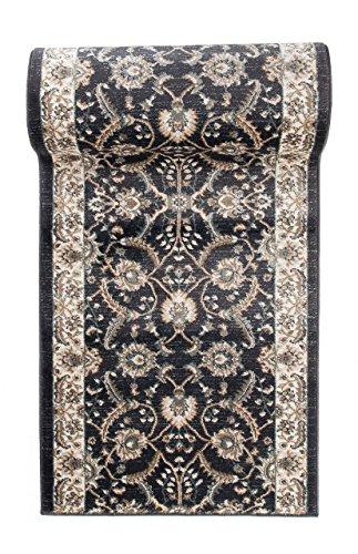 Läufer Teppich Flur in Anthrazit Schwarz - Orientalisch Klassischer Muster - Brücke Läuferteppich nach Maß - 80 cm Breit - AYLA Kollektion von Carpeto - 80 x 250 cm