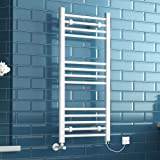 1000 x 450 mm Electric White Designer Straight Towel Rail Radiator Heated Bathroom Warmer