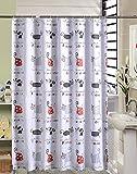 Duschvorhang Anti-Schimmel & Wasserdicht Karikatur Katzen Motiv Badezimmer Badvorhang mit verstärktem Saum, mit Haken 240 x 200cm Weiß