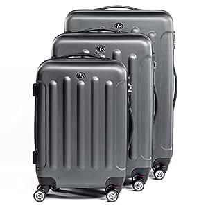 FERGÉ ensemble de valise (set de 3) LYON - 3 pièces de bagages avec 4 roues 360° anthracite-métallique en ABS - (DURE-FLEX) rigide et léger