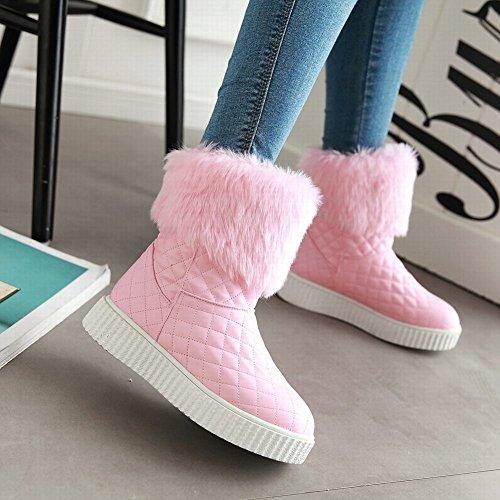 Mee Shoes Damen süß Durchgängiges Plateau runde warm gefüttert Schneestiefel Pink