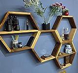 Étagère hexagonale, étagère murale en nid d'abeille, en planches de sapin  design upcycling, bibliothèque, étagère....