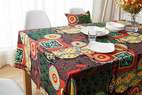 DOTBUY Rechteckige Tischdecke, Europäischer Stil Rechteckig Abwaschbar Baumwolle und Leinen böhmischer mediterraner Stil Tischdecke Pflegeleicht Garten (140*220, Rot)