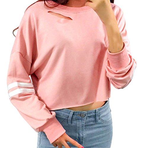 DOLDOA Frauen Mädchen höhlen heraus kurzes Sweatshirt langes Hülsen Ernte Pullover Oberseiten aus (EU: 48 Fehlschlag: 112cm / 44.1
