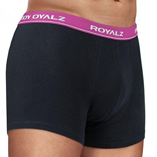 ROYALZ Unterhosen Herren Boxershorts 10er Set klassisch für Sport und Freizeit, 10er Pack (95% Baumwolle / 5% Elasthan) 10 x Schwarz / Bund - Lila