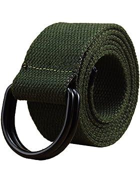 Maikun Mens & Womens Cinturón Lienzo Web Cintura con Negro Doble Correa de hebilla