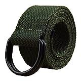 Cintura da uomo e da donna, in tela con fibbia nera a D, spessa 3,81 cm, extra lunga e tinta unita verde Army Green