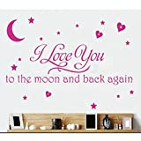 LOVE Quotes Wall Decor Wall Art I LOVE YOU To The Moon And Back Black Words Wall Sayings Quotes Easy Apply Wall Sticker Wall Art for Children Bedroom Baby Nursery Home Decor -pink by Rondaful