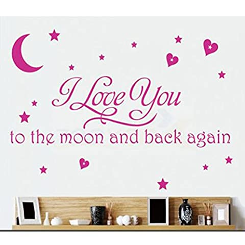 LOVE Quotes Wall Decor Wall Art I LOVE YOU To The Moon And Back Black Words Wall Sayings Quotes Easy Apply Wall Sticker Wall Art for Children Bedroom Baby Nursery Home Decor -pink by