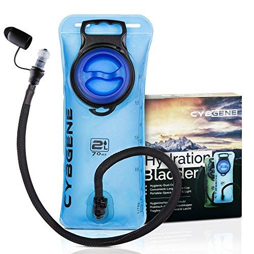 CybGene Trinkblase, wasserbehälter 2 Liter trinksystem für Rucksack mit großer Öffnung Auslaufsicherer Deckel und Isolier schlauchabdeckung. Geschmacksfrei zum Wandern, Radfahren und Klettern.(Blau)