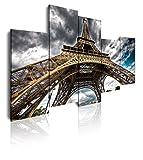 Dekoarte 42 - Cuadro moderno en lienzo de 5 piezas,  Paris Torre Eiffel, 150x100cm