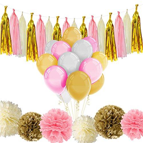 Cerixo 51Pcs Rosa und Gold Party Supplies mit Luftballons Tissue Blumen Papier Quaste Girlande für Baby-Dusche Mädchen Geburtstag Dekorationen