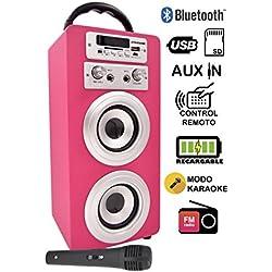 DYNASONIC Altavoz Karaoke Bluetooth 10W, Reproductor mp3 inalámbrico portátil, Lector USB SD, Radio FM - Modelo Color Rosa