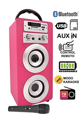 DYNASONIC Altavoz Karaoke Bluetooth 10W, Reproductor mp3 inalámbrico