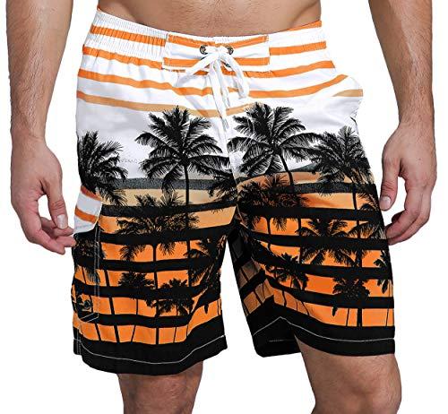 SHEKINI Herren Sommer Badeshorts Hawaii Kokospalme Blumenmuster Badehose mit 3 Taschen Innenslip Schnelltrocknend Strandshorts (34, Orange)