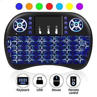 AIRSSON Mini Tastatur Beleuchtet Wireless Keyboard QWERTY mit Touchpad Fernbedienung Multimedia, 2.4Ghz USB wiederaufladbare für Smart TV, Android TV Box, HTPC, PC, Raspberry Pi, PS3, Tablet