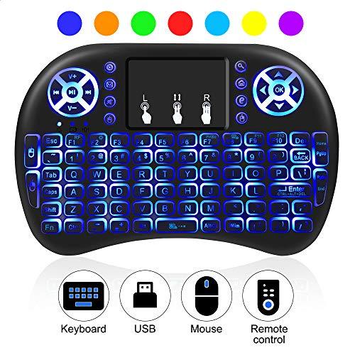 Beleuchtete Multimedia-tastatur (AIRSSON Mini Tastatur Beleuchtet Wireless Keyboard QWERTY mit Touchpad Fernbedienung Multimedia, 2.4Ghz USB wiederaufladbare für Smart TV, Android TV Box, HTPC, PC, Raspberry Pi, PS3, Tablet)