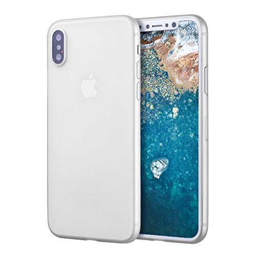 doupi UltraSlim Hülle für iPhone X, Ultra Dünn Fein Matte Oberfläche Handyhülle Cover Bumper Schutz Schale HardHülle für iPhone 10 (2017) Design Schutzhülle, weiß
