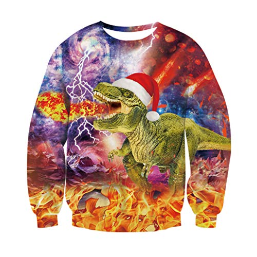 RAISEVERN Unisexe drôle Dragon Print Ugly Christmas Sweat Pull à col Rond Sweat à Manches Longues