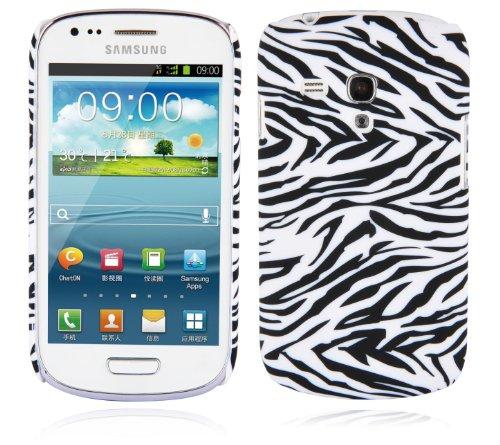 Cadorabo Hülle für Samsung Galaxy S3 MINI - Hülle im Design ZEBRA - Hardcase Handyhülle mit Aufdruck - Schutzhülle Bumper Back Case Cover -