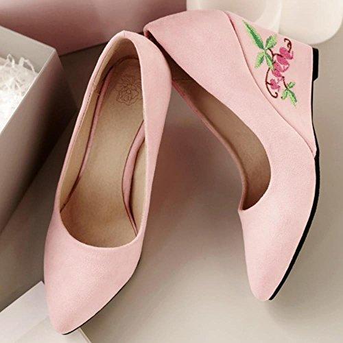 1cd9fe3f32f6f6 ... COOLCEPT Damen Klassische Chinese Embroidery Schuhe Fashion Keilabsatz  Ladies Hochzeit Pumps 782 Pink ...