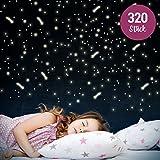 Wandkings Leuchtaufkleber - Sterne & Sternschnuppen - 320 einzelne Aufkleber -...