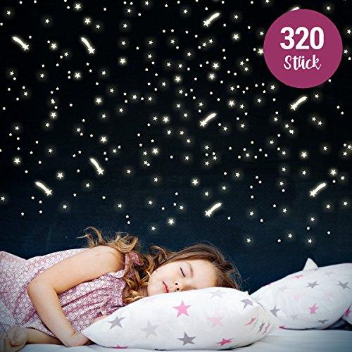 Wandkings Leuchtaufkleber - Sterne & Sternschnuppen - 320 einzelne Aufkleber - Fluoreszierend & im Dunkeln leuchtend