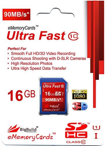 16GB Ultra schnelle 90MB/s Speicherkarte für JVC GY HM180E, HM250E, HM250ESB Camcorder | Klasse 10 SDHC | BigBuild Technology