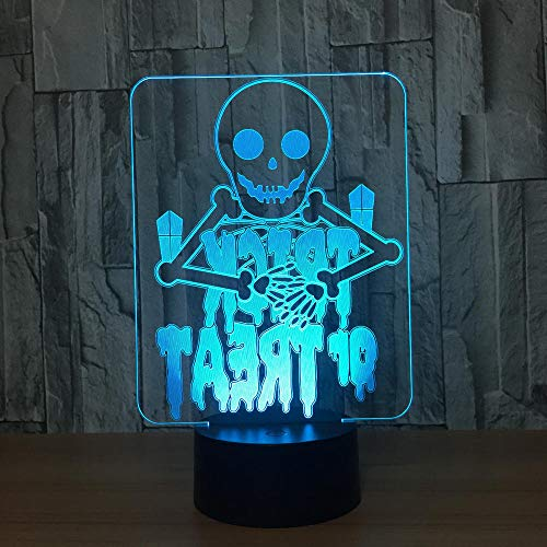 Halloween Geister 7 Farbe Lampe 3d Visuelle Led Nachtlichter Für Kinder Touch Usb TischBaby Schlafen Nachtlicht