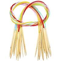 100cm Aiguilles à Tricoter Circulaire en Bambou à Double Pointe Aiguilles avec Tube en Plastique Coloré 3mm -10mm