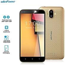 "Smartphone Libre - Ulefone S7 [2018 Última Versión 2GB RAM 16GB ROM] 5.0""HD Teléfono Móvil con Cámara Triple (5MP + 8MP + 5MP) Android 7.0, MTK 6580 Quad Core 1.3GHz, 2500mAh, oro"