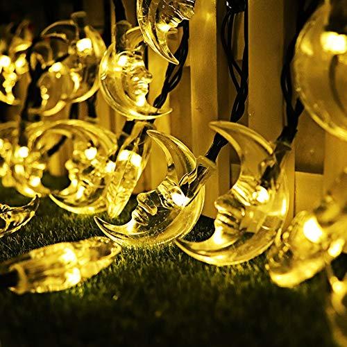 30 Led- Sonnenlichter Im Freien Für Den Mond 19 Ft 30 Led- Lampen- Fee- Weihnachtslichter Dekorative Beleuchtung Für Im Freien, Garten, Haus, Partei Und Feiertags-Dekorationen,warmyellow