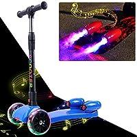 WATSON Dreiradscooter Kinder Scooter Kinder Roller ab 3Jahre, Kickroller, 3 Räder, LED, Faltbar, Kickboard, Tretroller, sicher, Sprühen, Farbiger Wassernebel