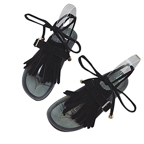 Longra Donna Tassel Fondo piatto, sandali in piedi casual Nero