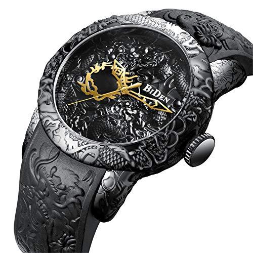 Marca Biden Relojes De Cuarzo para Hombre Hombres De Moda Escultura 3D Dragon Gold Watch Reloj Creativo De Alivio Exquisito